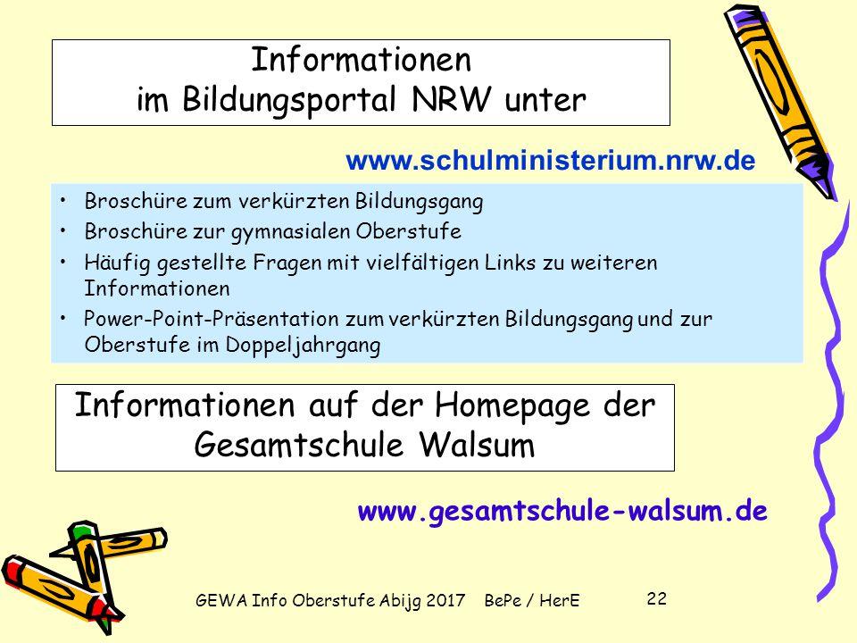 GEWA Info Oberstufe Abijg 2017 BePe / HerE 21 Zulassung zum Abitur – Leistungsdefizite (weniger als 5 Punkte) bei Einbringung von allen 4 Kursen der A