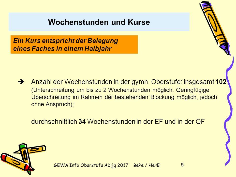 """GEWA Info Oberstufe Abijg 2017 BePe / HerE 15 Wahl der vier Abiturfächer (2 LK und 2 GK) Zwei Fächer aus dem Kanon""""Deutsch, Mathematik, Fremdsprache ."""