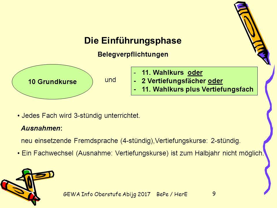 GEWA Info Oberstufe Abijg 2017 BePe / HerE 9 10 Grundkurse - 11.