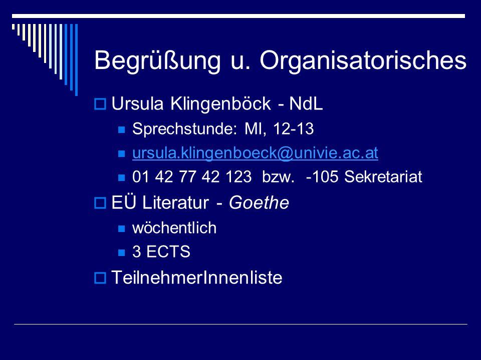 Begrüßung u. Organisatorisches  Ursula Klingenböck - NdL Sprechstunde: MI, 12-13 ursula.klingenboeck@univie.ac.at 01 42 77 42 123 bzw. -105 Sekretari