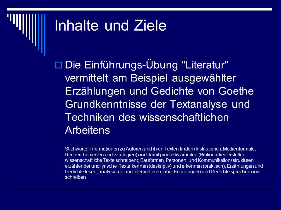 Methoden  Input durch Vortrag  kleinere schriftliche (u.a.