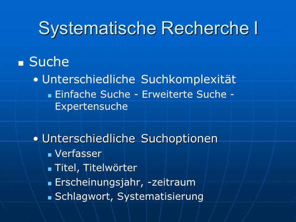 Systematische Recherche I Suche Unterschiedliche Suchkomplexität Einfache Suche - Erweiterte Suche - Expertensuche Unterschiedliche SuchoptionenUnters