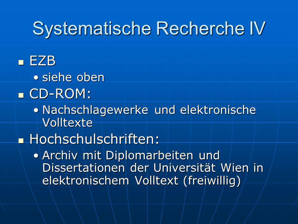Systematische Recherche IV EZB EZB siehe obensiehe oben CD-ROM: CD-ROM: Nachschlagewerke und elektronische VolltexteNachschlagewerke und elektronische