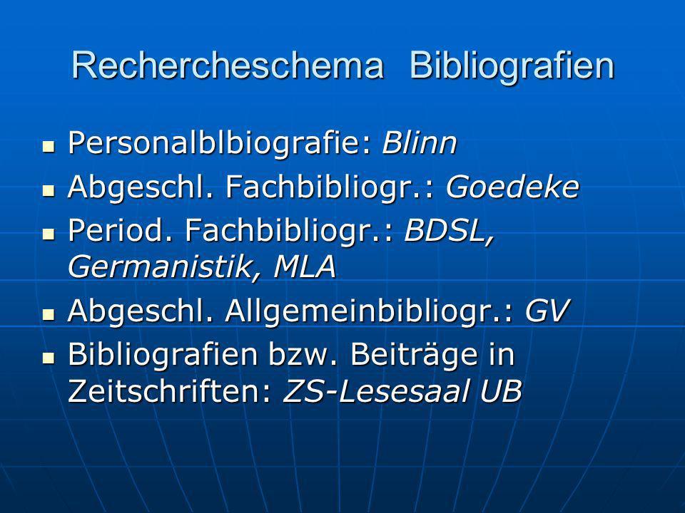 Rechercheschema Bibliografien Personalblbiografie: Blinn Personalblbiografie: Blinn Abgeschl. Fachbibliogr.: Goedeke Abgeschl. Fachbibliogr.: Goedeke