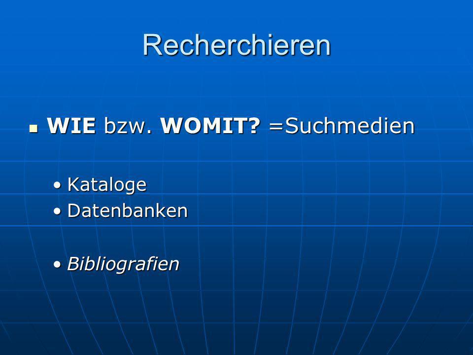 Recherchieren WIE bzw. WOMIT? =Suchmedien WIE bzw. WOMIT? =Suchmedien KatalogeKataloge DatenbankenDatenbanken BibliografienBibliografien