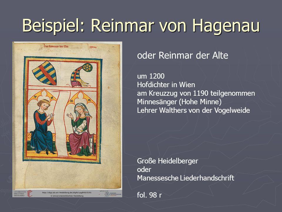 Beispiel: Reinmar von Hagenau oder Reinmar der Alte um 1200 Hofdichter in Wien am Kreuzzug von 1190 teilgenommen Minnesänger (Hohe Minne) Lehrer Walthers von der Vogelweide Große Heidelberger oder Manessesche Liederhandschrift fol.