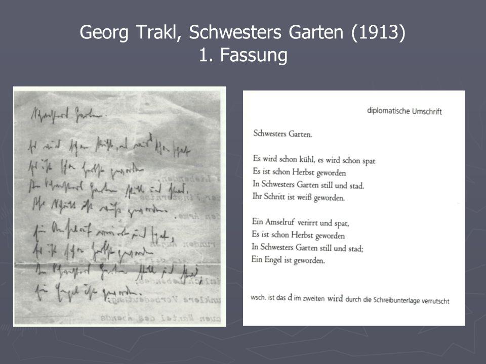 Georg Trakl, Schwesters Garten (1913) 2. Fassung