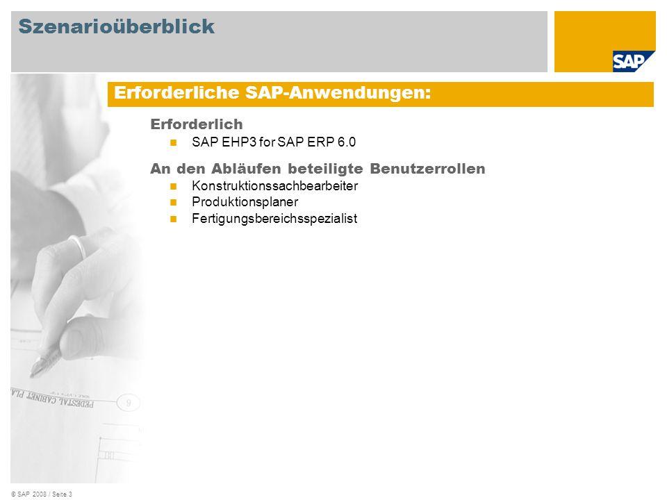 © SAP 2008 / Seite 3 Erforderlich SAP EHP3 for SAP ERP 6.0 An den Abläufen beteiligte Benutzerrollen Konstruktionssachbearbeiter Produktionsplaner Fertigungsbereichsspezialist Erforderliche SAP-Anwendungen: Szenarioüberblick