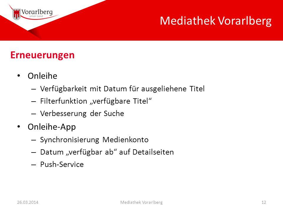 """Mediathek Vorarlberg Onleihe – Verfügbarkeit mit Datum für ausgeliehene Titel – Filterfunktion """"verfügbare Titel"""" – Verbesserung der Suche Onleihe-App"""