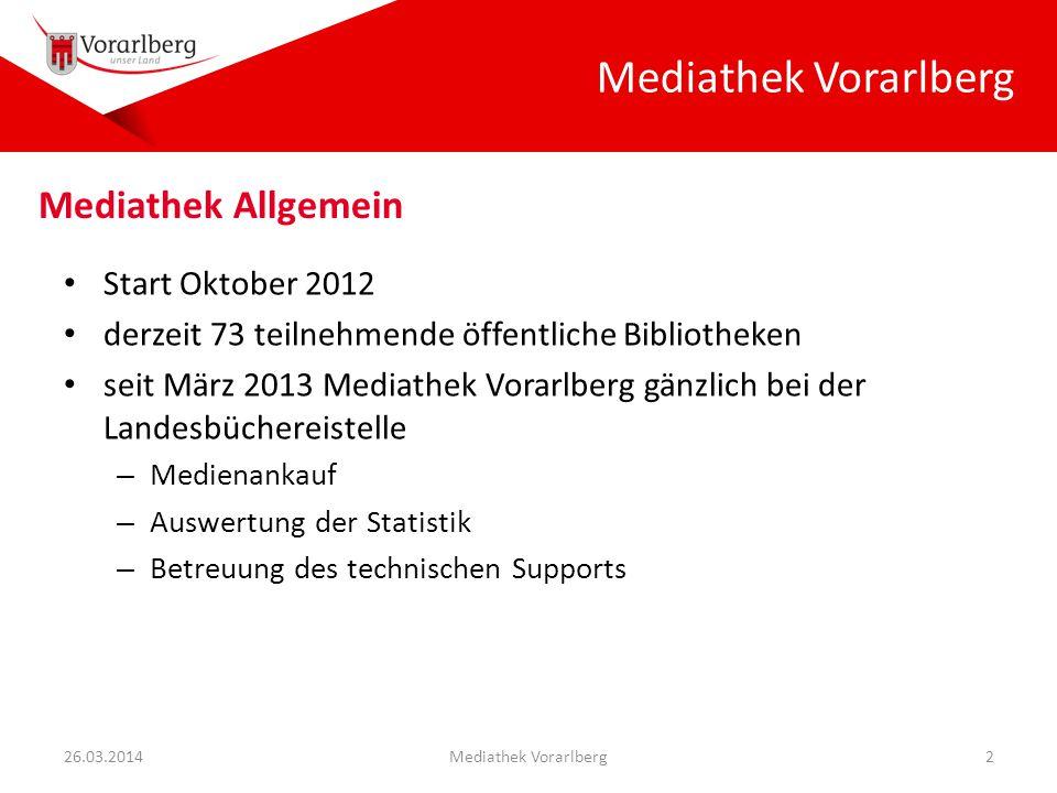 Start Oktober 2012 derzeit 73 teilnehmende öffentliche Bibliotheken seit März 2013 Mediathek Vorarlberg gänzlich bei der Landesbüchereistelle – Medien