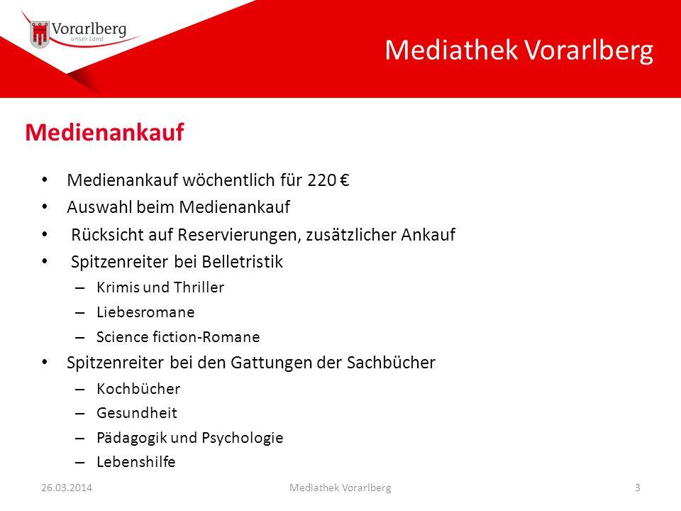 Mediathek Vorarlberg Medienankauf wöchentlich für 220 € Auswahl beim Medienankauf Rücksicht auf Reservierungen, zusätzlicher Ankauf Spitzenreiter bei