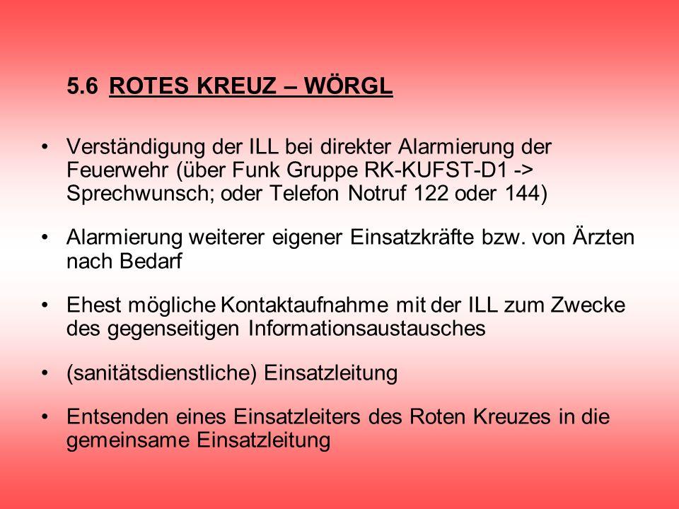 5.6ROTES KREUZ – WÖRGL Verständigung der ILL bei direkter Alarmierung der Feuerwehr (über Funk Gruppe RK-KUFST-D1 -> Sprechwunsch; oder Telefon Notruf