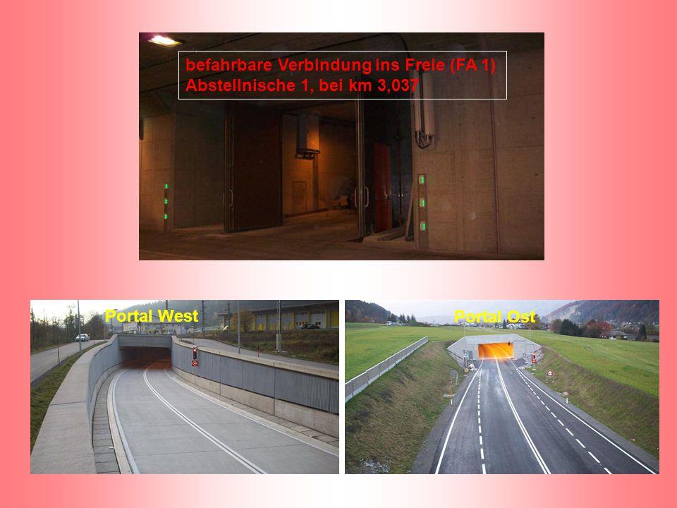 befahrbare Verbindung ins Freie (FA 1) Abstellnische 1, bei km 3,037 Portal West Portal Ost
