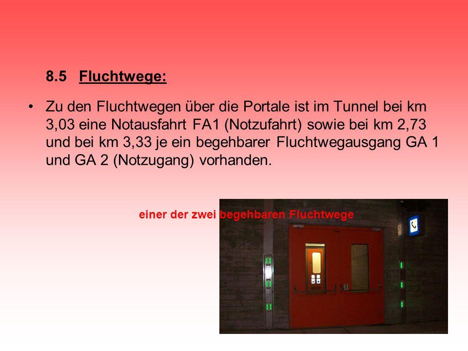8.5 Fluchtwege: Zu den Fluchtwegen über die Portale ist im Tunnel bei km 3,03 eine Notausfahrt FA1 (Notzufahrt) sowie bei km 2,73 und bei km 3,33 je e