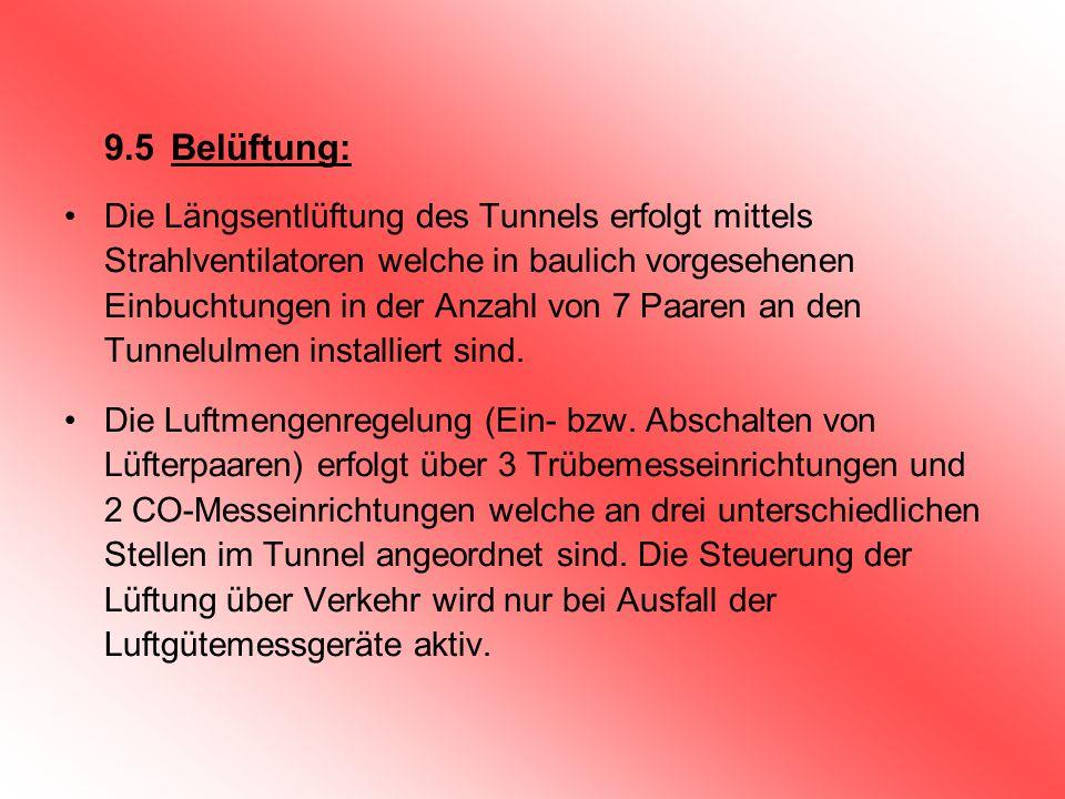 9.5Belüftung: Die Längsentlüftung des Tunnels erfolgt mittels Strahlventilatoren welche in baulich vorgesehenen Einbuchtungen in der Anzahl von 7 Paar