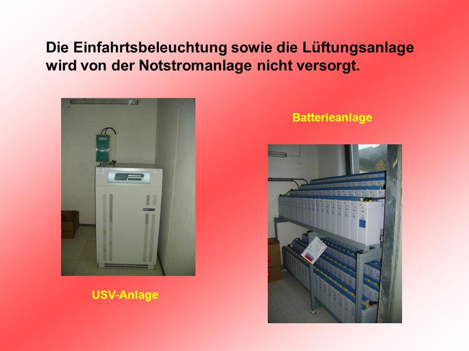 Die Einfahrtsbeleuchtung sowie die Lüftungsanlage wird von der Notstromanlage nicht versorgt. USV-Anlage Batterieanlage