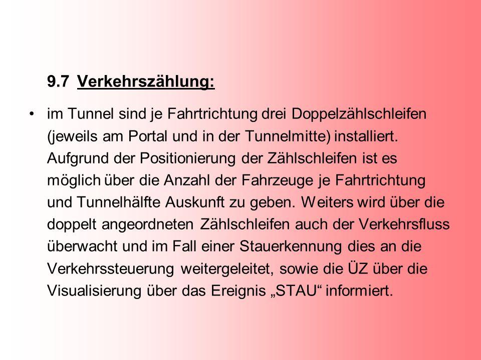 9.7Verkehrszählung: im Tunnel sind je Fahrtrichtung drei Doppelzählschleifen (jeweils am Portal und in der Tunnelmitte) installiert. Aufgrund der Posi