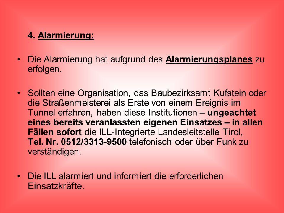 4. Alarmierung: Die Alarmierung hat aufgrund des Alarmierungsplanes zu erfolgen. Sollten eine Organisation, das Baubezirksamt Kufstein oder die Straße