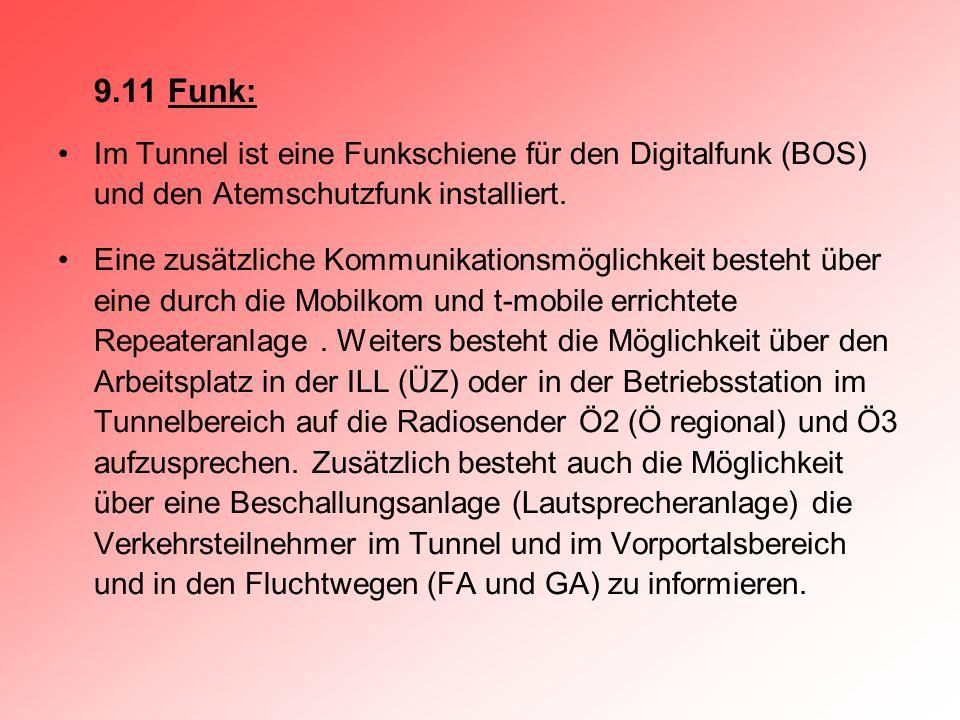 9.11 Funk: Im Tunnel ist eine Funkschiene für den Digitalfunk (BOS) und den Atemschutzfunk installiert. Eine zusätzliche Kommunikationsmöglichkeit bes
