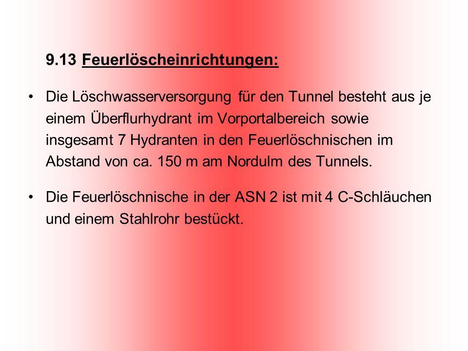 9.13 Feuerlöscheinrichtungen: Die Löschwasserversorgung für den Tunnel besteht aus je einem Überflurhydrant im Vorportalbereich sowie insgesamt 7 Hydr