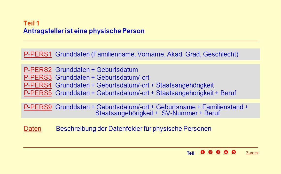 Teil 1 Antragsteller ist eine physische Person P-PERS1P-PERS1 Grunddaten (Familienname, Vorname, Akad. Grad, Geschlecht) P-PERS2P-PERS2 Grunddaten + G