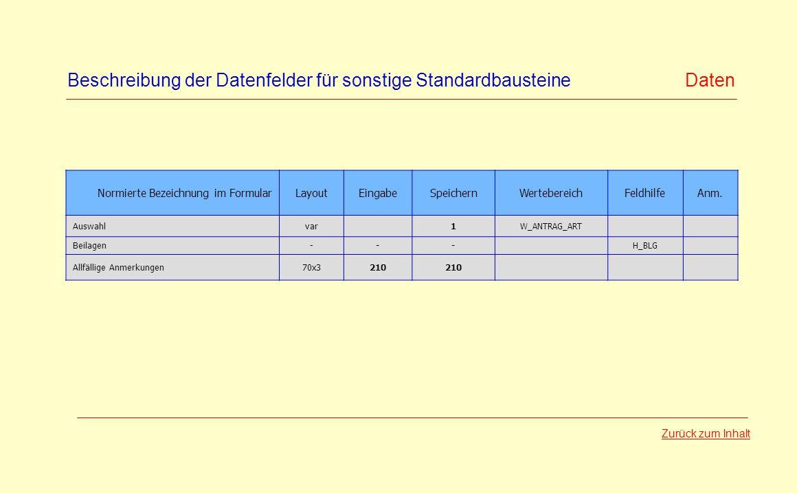 Beschreibung der Datenfelder für sonstige Standardbausteine Daten Normierte Bezeichnung im FormularLayoutEingabeSpeichernWertebereichFeldhilfeAnm. Aus