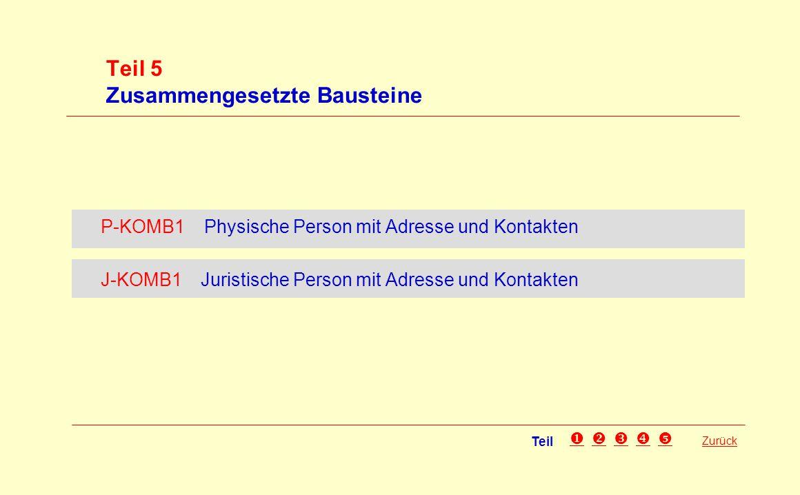 Teil 5 Zusammengesetzte Bausteine Zurück P-KOMB1 Physische Person mit Adresse und Kontakten J-KOMB1 Juristische Person mit Adresse und Kontakten Teil 