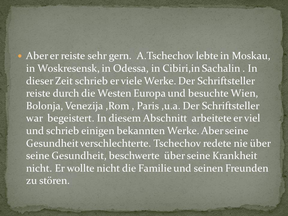 Am 5.Juni 1904 A. Tschechov und seine Frau Olga Knipper fuhren nach Berlin.