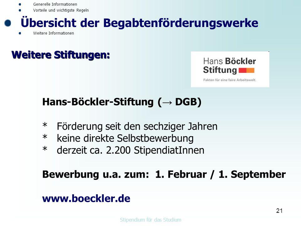 21 Hans-Böckler-Stiftung ( → DGB) * Förderung seit den sechziger Jahren * keine direkte Selbstbewerbung * derzeit ca.