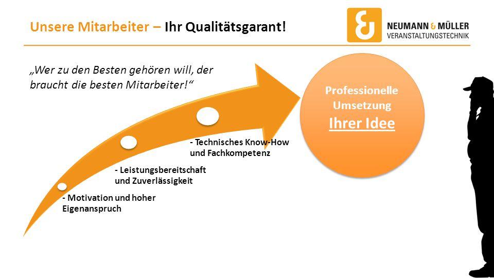 """Unsere Mitarbeiter – Ihr Qualitätsgarant! """"Wer zu den Besten gehören will, der braucht die besten Mitarbeiter!"""" - Motivation und hoher Eigenanspruch -"""