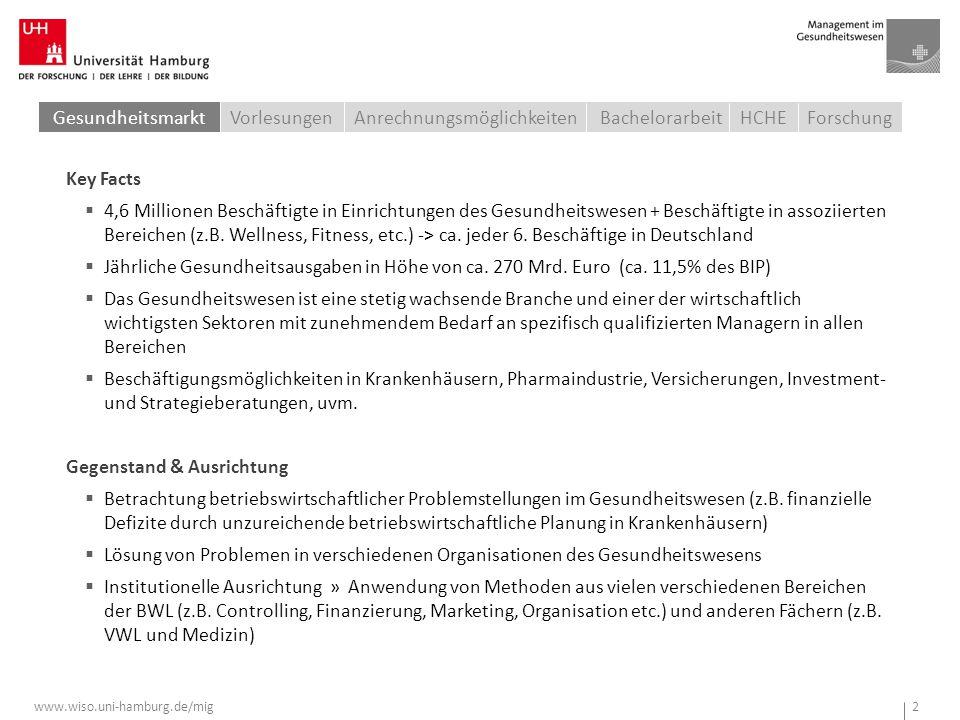 www.wiso.uni-hamburg.de/mig 2 Key Facts  4,6 Millionen Beschäftigte in Einrichtungen des Gesundheitswesen + Beschäftigte in assoziierten Bereichen (z