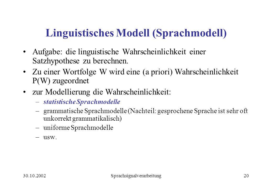 30.10.2002Sprachsignalverarbeitung20 Linguistisches Modell (Sprachmodell) Aufgabe: die linguistische Wahrscheinlichkeit einer Satzhypothese zu berechnen.