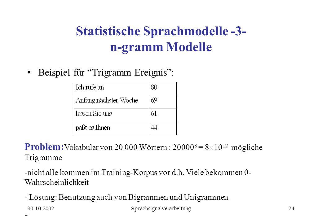 30.10.2002Sprachsignalverarbeitung24 Statistische Sprachmodelle -3- n-gramm Modelle Beispiel für Trigramm Ereignis : Problem: Vokabular von 20 000 Wörtern : 20000 3 = 8  10 12 mögliche Trigramme -nicht alle kommen im Training-Korpus vor d.h.