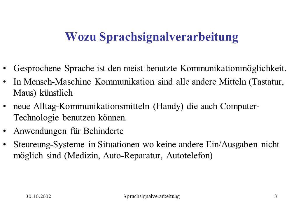 30.10.2002Sprachsignalverarbeitung3 Wozu Sprachsignalverarbeitung Gesprochene Sprache ist den meist benutzte Kommunikationmöglichkeit.