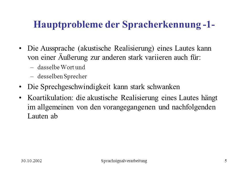 30.10.2002Sprachsignalverarbeitung36 Quellsprache Zielsprache MÜ - System Morphologie Lexikon Syntax Semantik Pragmatik Domänen- Wissen Generierung Was .