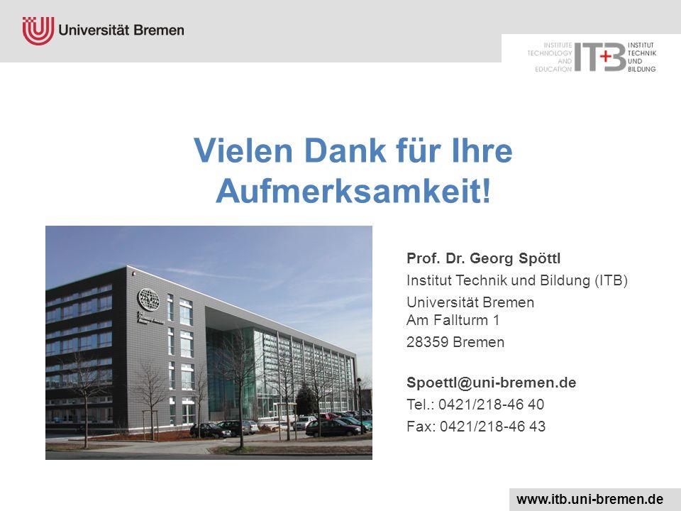 Vielen Dank für Ihre Aufmerksamkeit! Prof. Dr. Georg Spöttl Institut Technik und Bildung (ITB) Universität Bremen Am Fallturm 1 28359 Bremen Spoettl@u