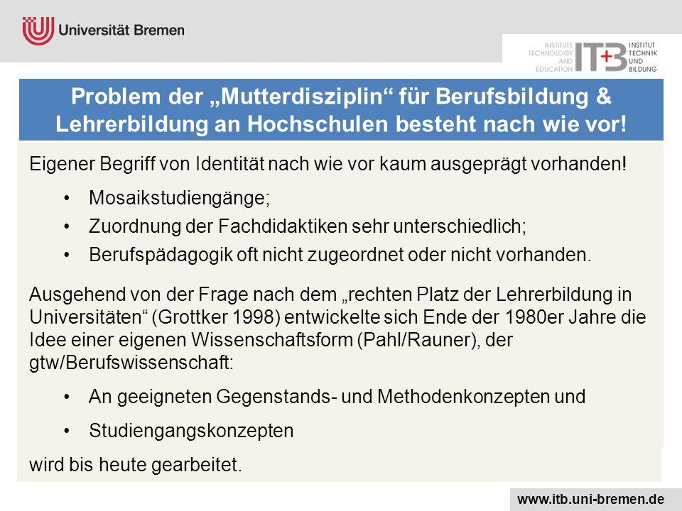 """Problem der """"Mutterdisziplin für Berufsbildung & Lehrerbildung an Hochschulen besteht nach wie vor."""