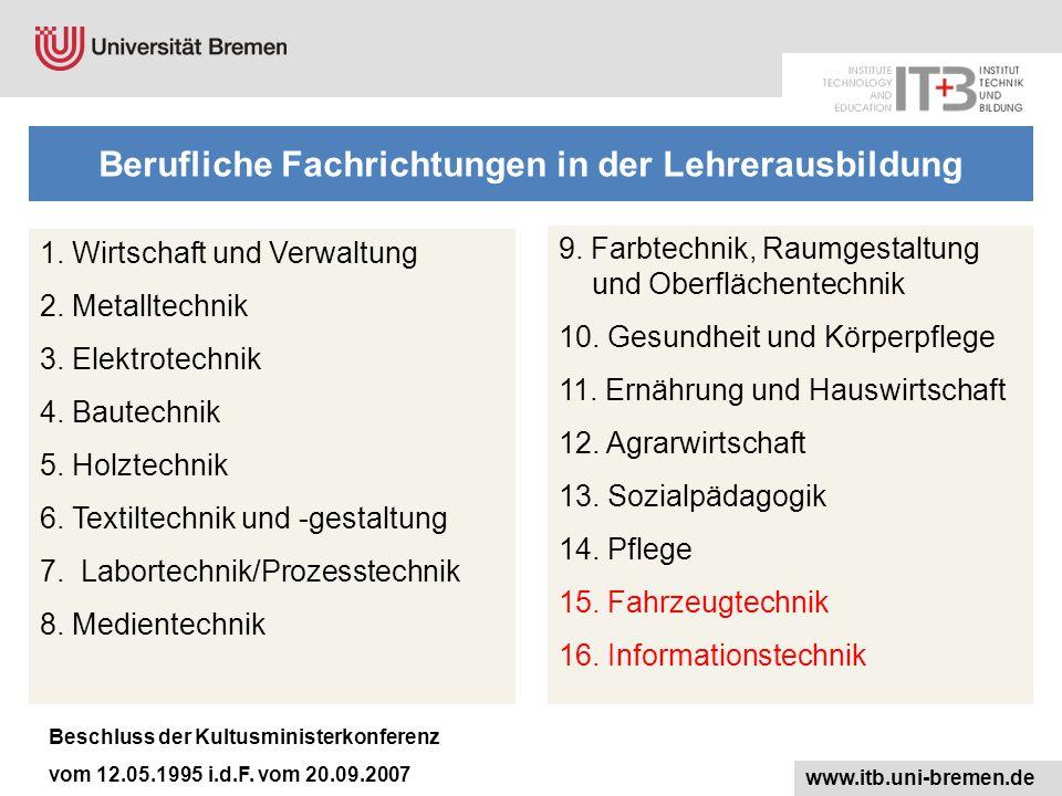 1.Wirtschaft und Verwaltung 2. Metalltechnik 3. Elektrotechnik 4.