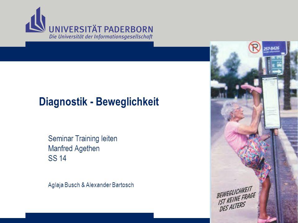 Diagnostik - Beweglichkeit Seminar Training leiten Manfred Agethen SS 14 Aglaja Busch & Alexander Bartosch