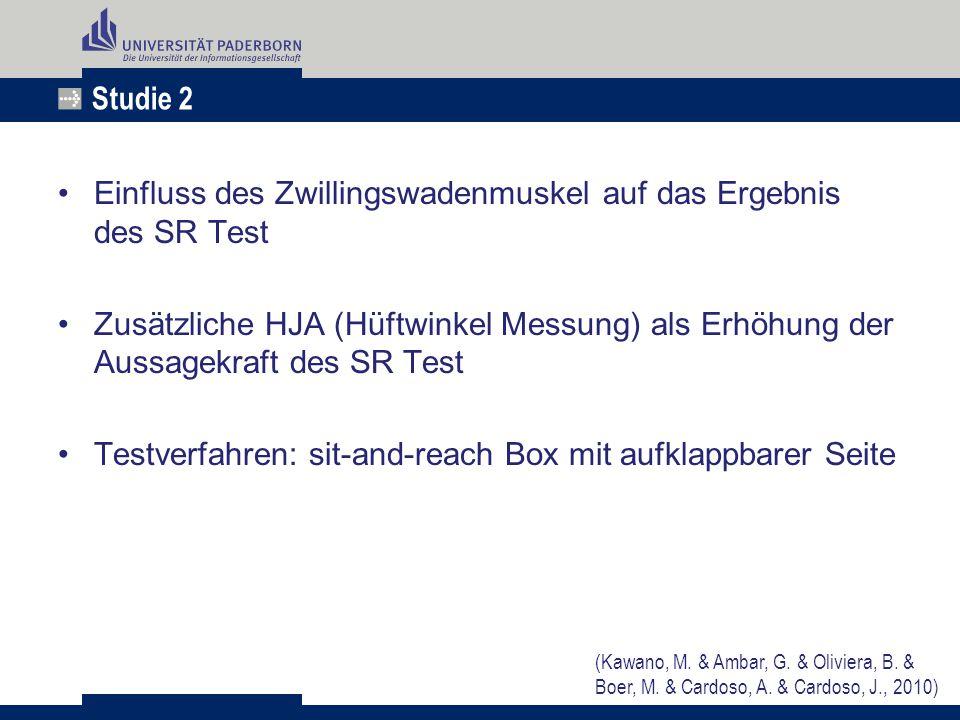 Studie 2 Einfluss des Zwillingswadenmuskel auf das Ergebnis des SR Test Zusätzliche HJA (Hüftwinkel Messung) als Erhöhung der Aussagekraft des SR Test