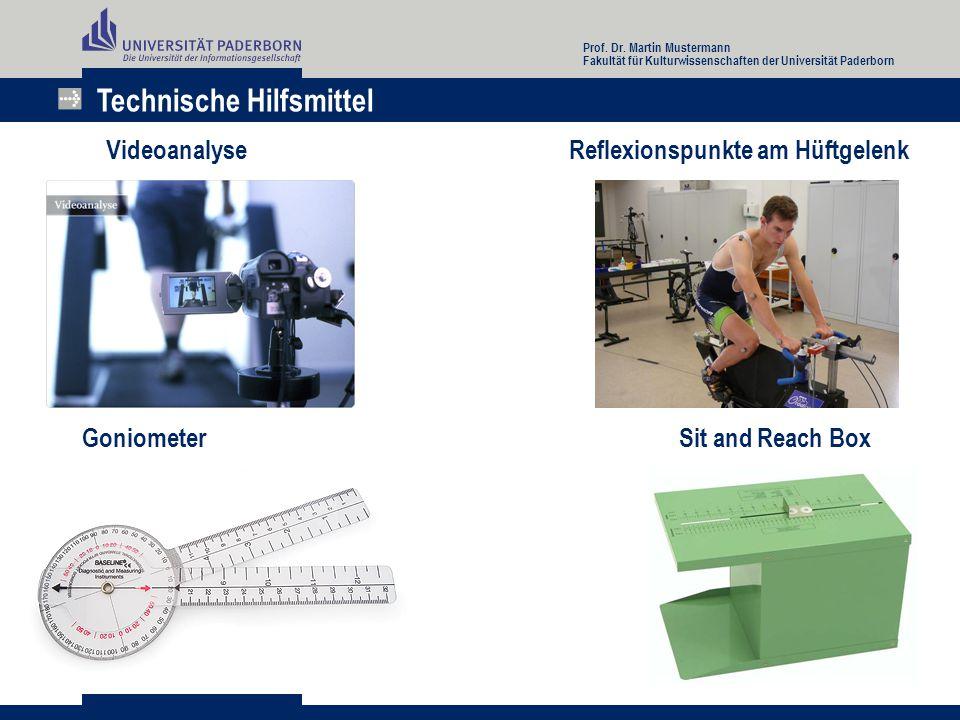Technische Hilfsmittel Videoanalyse Reflexionspunkte am Hüftgelenk Goniometer Sit and Reach Box Prof. Dr. Martin Mustermann Fakultät für Kulturwissens