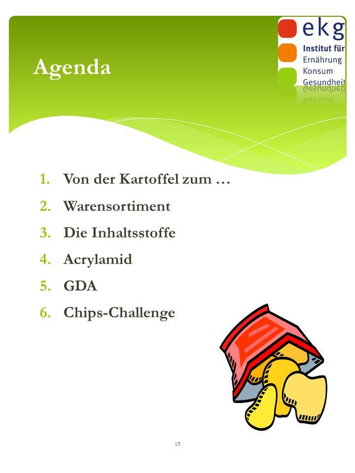 1.Von der Kartoffel zum … 2.Warensortiment 3.Die Inhaltsstoffe 4.Acrylamid 5.GDA 6.Chips-Challenge 19 Agenda