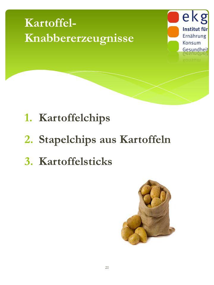 1.Kartoffelchips 2.Stapelchips aus Kartoffeln 3.Kartoffelsticks 20 Kartoffel- Knabbererzeugnisse