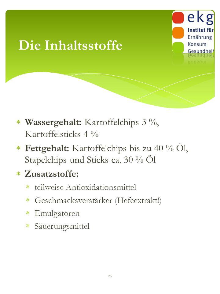  Wassergehalt: Kartoffelchips 3 %, Kartoffelsticks 4 %  Fettgehalt: Kartoffelchips bis zu 40 % Öl, Stapelchips und Sticks ca. 30 % Öl  Zusatzstoffe