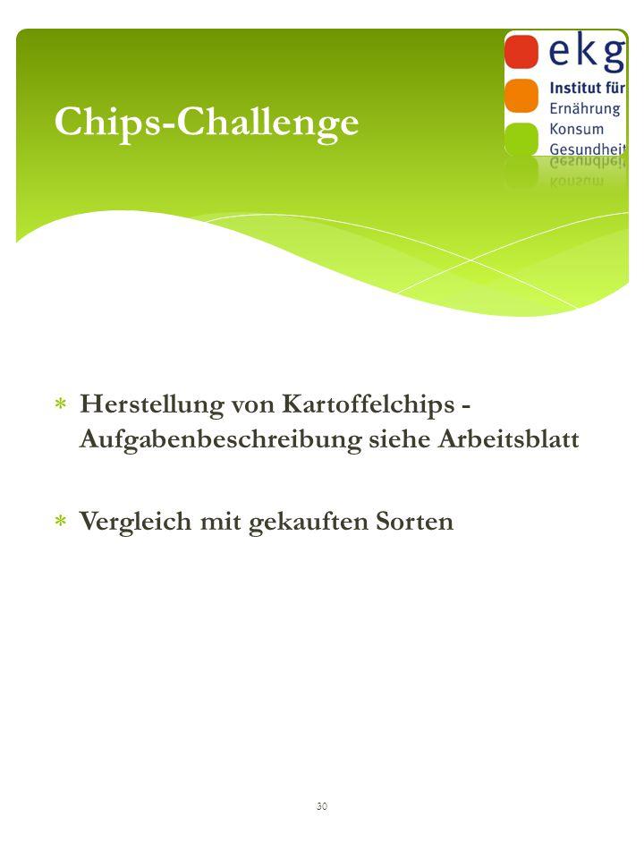  Herstellung von Kartoffelchips - Aufgabenbeschreibung siehe Arbeitsblatt  Vergleich mit gekauften Sorten 30 Chips-Challenge