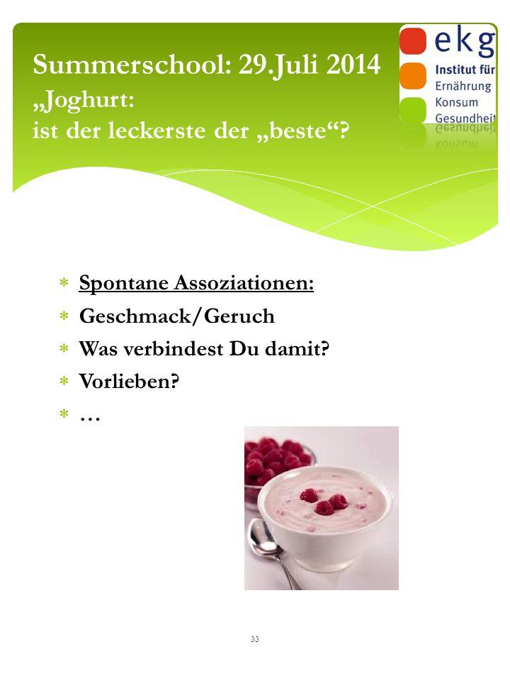 """ Spontane Assoziationen:  Geschmack/Geruch  Was verbindest Du damit?  Vorlieben?  … 33 Summerschool: 29.Juli 2014 """"Joghurt: ist der leckerste der"""