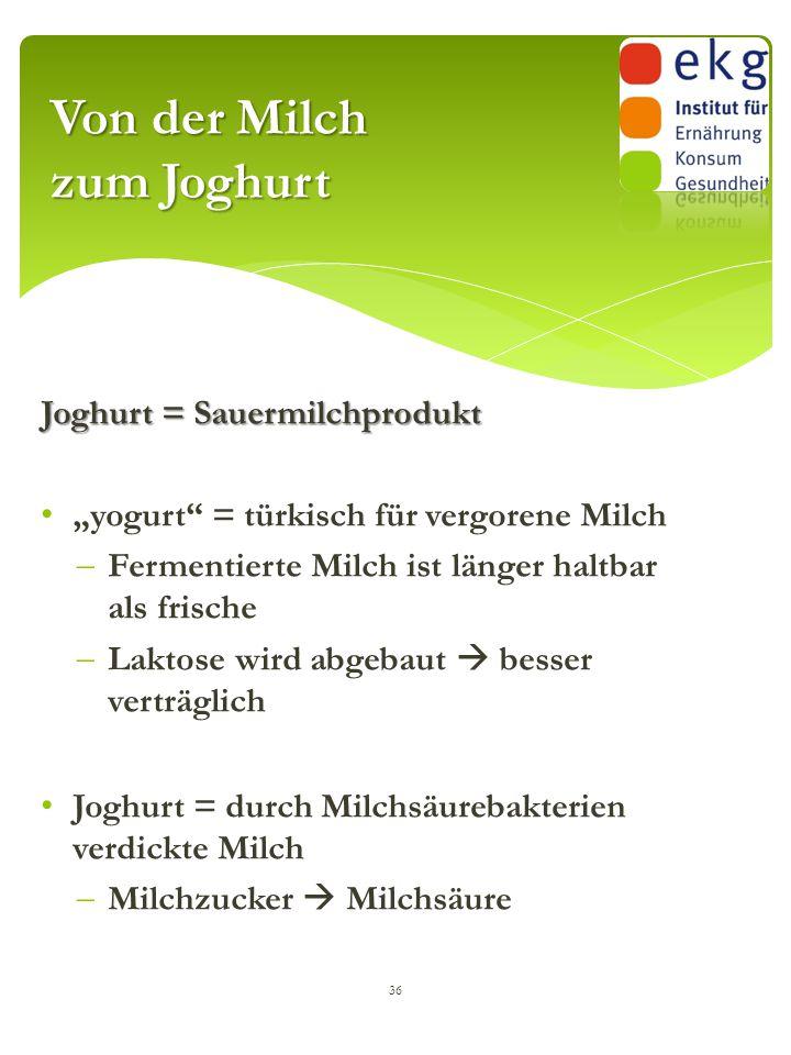 """Joghurt = Sauermilchprodukt """"yogurt"""" = türkisch für vergorene Milch  Fermentierte Milch ist länger haltbar als frische  Laktose wird abgebaut  bess"""