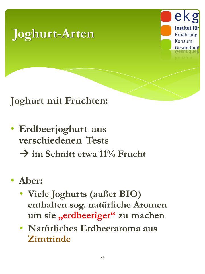 Joghurt mit Früchten: Erdbeerjoghurt aus verschiedenen Tests  im Schnitt etwa 11% Frucht Aber: Viele Joghurts (außer BIO) enthalten sog. natürliche A