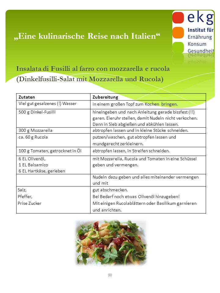 "Insalata di Fusilli al farro con mozzarella e rucola (Dinkelfusilli-Salat mit Mozzarella und Rucola) 50 ""Eine kulinarische Reise nach Italien"" Zutaten"