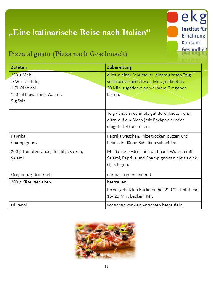 """Pizza al gusto (Pizza nach Geschmack) 51 """"Eine kulinarische Reise nach Italien"""" ZutatenZubereitung 250 g Mehl, ½ Würfel Hefe, 1 EL Olivenöl, 150 ml la"""